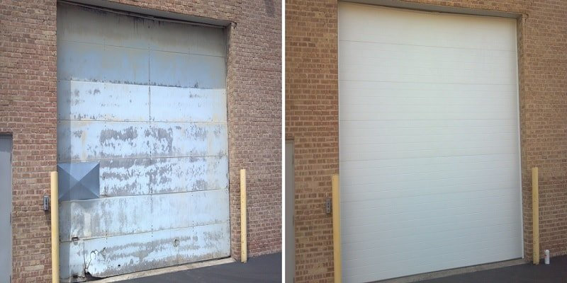 commercial garage door installation before and after