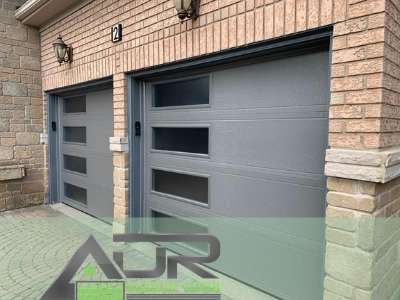 Charcoal insulated garage door